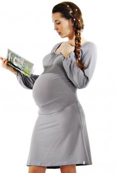 Robe maternité courte gris perle Lilas