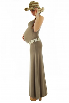 Robe grossesse longue Abricot taupe