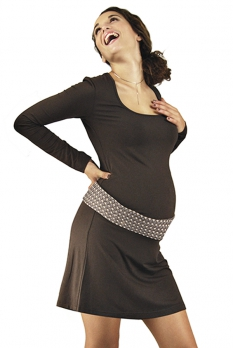 Robe de grossesse courte chocolat Emma