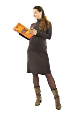 Robe de grossesse courte chocolat Lou
